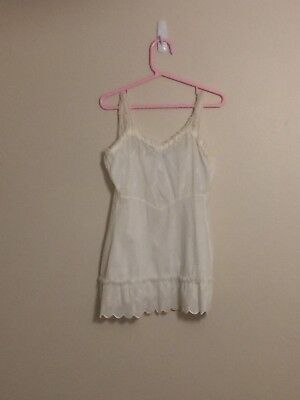 Vintage Girl's White Full Slip with Embroidered Top & Lace Flounce at Hem