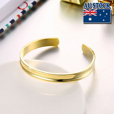 Stunning 18K Yellow Gold Filled High Polished Bangle Bracelet Gift
