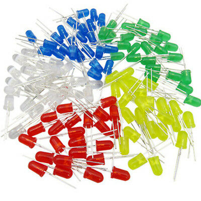 5 colors 100pcs 5mm Led Diodes Water White Red Green Blue Yellow White Mix Kits