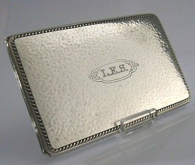 LARGE AMERICAN SOLID SILVER CIGARETTE or CARD CASE c1910-20 ANTIQUE