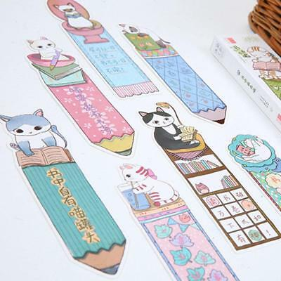 30pcs/lot Funny Cute Cat Shaped Paper Bookmark Gift Stationery Film  Mark