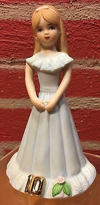 Enesco Growing Up Girls  Age 10  Brunette  VGC  Dated 1982