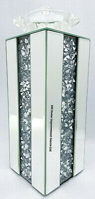 Candle Holder Sparkly Large Square Silver Mirrored Diamond Crush