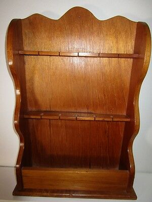vintage collector spoons heavy wood display rack with bottom compartment
