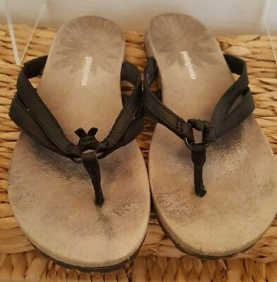 f25b0024 Patagonia Sandals Womens 6M Black Leather Flip Flops Thongs Shoes T11336