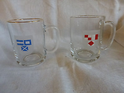 Vintage retro 70s lot de 2 tasse Mobil milk glass  en verre
