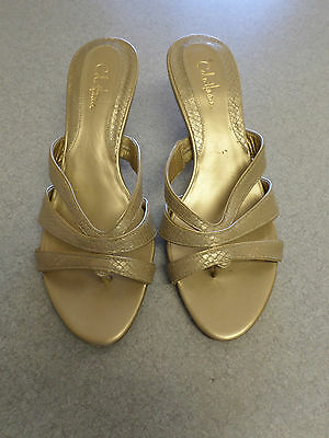 Cole Haan gold leather, 2.5 in. high heel shoes. Womens  7 B