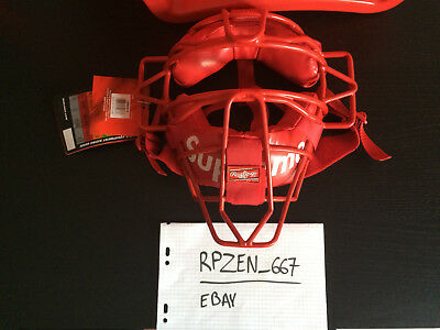 Supreme / Rawlings Catcher's Mask - Red - SS18, Rare, Accessories, Box Logo