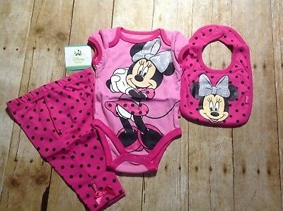 NWT Disney Baby Girls One Piece, Pants, Bib, Minnie Mouse Outfit, 4 Styles