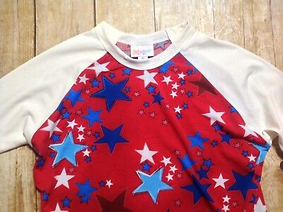 LuLaRoe, Red White Blue, Size 10 Sloan Top, Stars, for Boy or Girl (EE039)