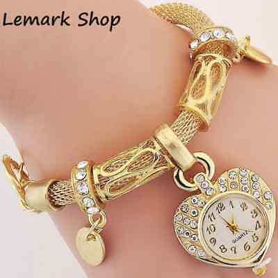Lady New Bracelet Wrist Watch for woman silver gold bangle band crystal Fashion