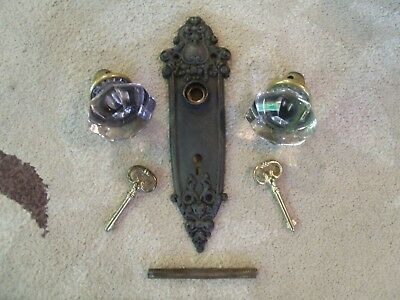 Antique Light Amethyst/Clear Glass/Crystal Door Knobs, Plate, Keys