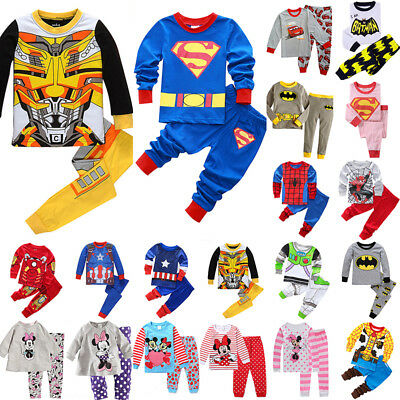 Childrens Kids Character Pyjamas Nightwear Girls Boys Pjs Set Pajamas Sleepwear