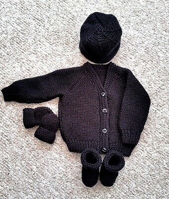 Baby Hand Knitted Cardigan, Hat, Mittens, Bootees, Black 0-3 M, New