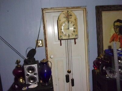 Antique Wooden Weight Driven Wall Clock With Large Pendulum ~ Wag On The Wall