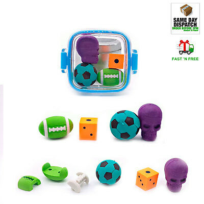 TCS Animal Eraser Puzzle Rubbers Skull Die Football for Kids Girls Boys Rubbing