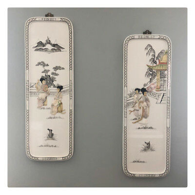 Set of 2 Chinese Asian Vintage 80's White Laquer Mother of Pearl Wall Panels