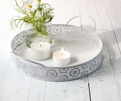 Rustic Metal Round Display/ Serving Table Tray~ Distressed White, Grey