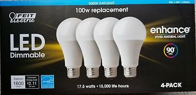 FEIT Electric LED light bulbs 5000K Daylight Dimmable 17.5W = 100W 4 Pack watt