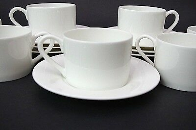 9 Pc Set Towle Silversmiths Colonnade White Fine Bone China 4 Cups & 5 Saucers