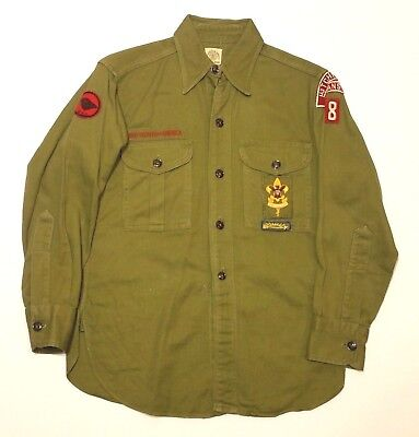 VTG 1950`s Boy Scouts of America Youth Official Uniform Shirt Sanforized BSA KS