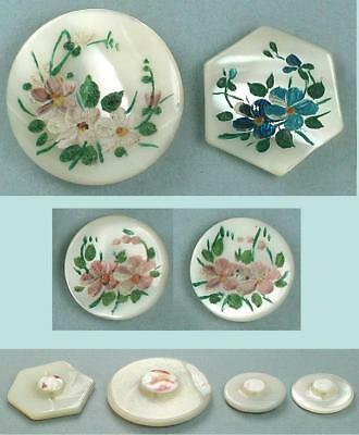4 Hand Painted Antique Mother of Pearl Buttons * English * Circa 1900