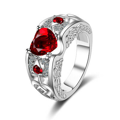Ladies Solid 925 Sterling Silver Cut Red Zircon Heart Band Wedding Party Ring