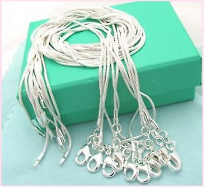 10Pcs Wholesale 925 Sterling Solid Silver 1mm Snake Chain Necklace DIY Lot Newly