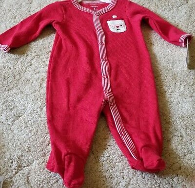 b3d15595e3d5 BABY UNISEX CARTERS Red Santa Footed One Piece Pajama 3 Months Brand ...