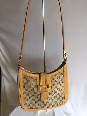 Authentic Gucci Gold Large G Logo Flap Beige  Leather Canvas Web Gg Shoulder Bag