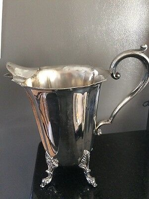 Antique Heavy 2.5 Pound, Silver Plate Lehman Bros Water Pitcher with Ice Lip