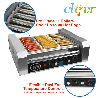Hot Dog Machine By Clevr Commercial 11 Roller and 30 Hotdog Grill Cooker Warmer