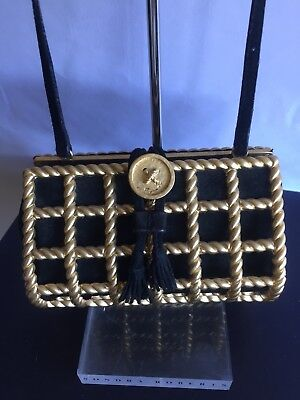 a01b37e923af SALVATORE FERRAGAMO EVENING Bag Clutch Jewel Pochette Vintage Gold ...
