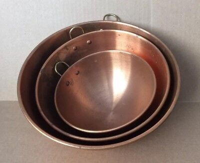 Lot of 3 Vintage Solid Copper Mixing Bowl W/Brass Ring, Dents & Pantina