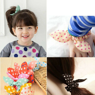 Cute 10PC Elastic Bow Hair Ponytail Holders Kids&Girls Polka Dot Hair  Band