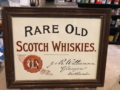 Rare Old Scotch Whiskies Original Paper On Board Sign