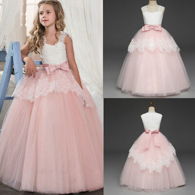 US Flower Girl Embroidery Bridesmaid Princess Pageant Prom Ball Gown Pink Dress