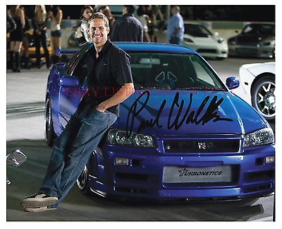 PAUL WALKER THE FAST AND FURIOUS SIGNED AUTOGRAPHED 8x10 RP PHOTO BLUE CAR