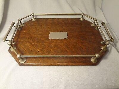 Antique Oak and Nickel Plated Butler's Serving Tray Drink's Tray No Monogram