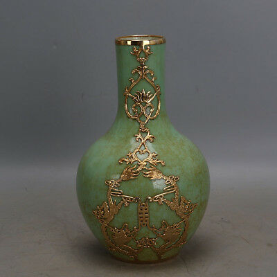 "9"" China old antique Porcelain Qing Qianlong Green Glaze gild gold Tianqiu Vase"