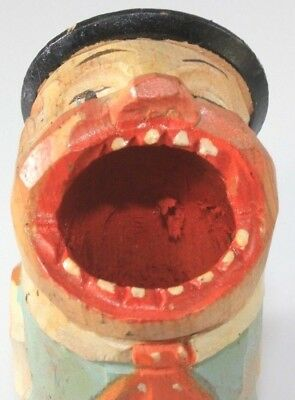 Vintage Anri Italy Hand Carved Wooden Toothpick Match Holder Big Mouth Man