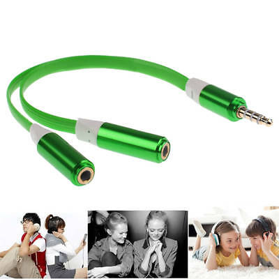 3.5mm AUX Audio Mic Splitter Cable Earphone Headphone Adapter 1 Male To 2 Female