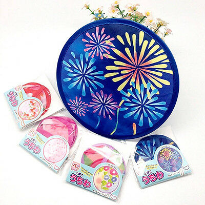Portable Japanese Style Folding Hand Fan Foldable Handheld Small Round Fans