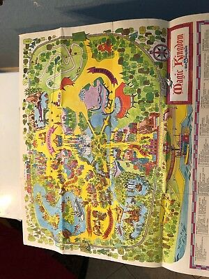 """1970's """"A Guide to the Magic Kingdom"""" Walt Disney World Product. Map 28""""x25""""Ep34"""