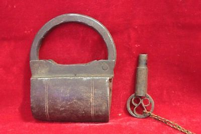 Vintage Antique Old Rare Iron Lock and Key Collectible Home Decor PU57