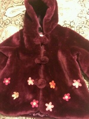 Hooded Fur Coat/Jacket Toddler Girls 24 mo from The Children's Place Purple