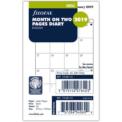 NEW Filofax Mini Month on Two Pages 2019 Diary Refill