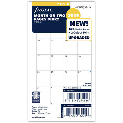 NEW Filofax Personal Month On Two Pages 2019 Diary Refill