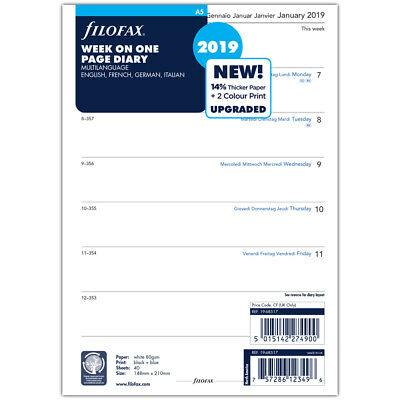 NEW Filofax A5 Week On One Page 2019 Diary Refill