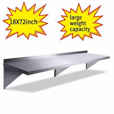 "Floating Wall Shelf 18""X72"" Stainless Steel Restaurant Bar Cafe Kitchen Storage"